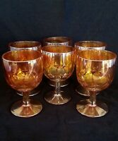 Vintage marigold carnival iridescent glass water goblets [SET OF SIX]