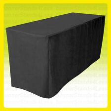 6' Fitted Tablecloth Table Throw Cover Wedding Banquet Event Polyester - Black
