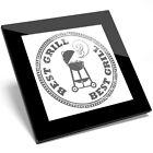 1 x BBQ Best Grill Smoke Black White Glass Coaster - Kitchen Student Gift #7149