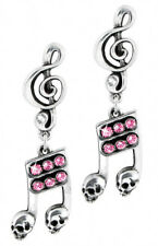 Alchemy Gothic Pair of Dead Note Skull Music Stud Earrings Goth Pewter Jewellery