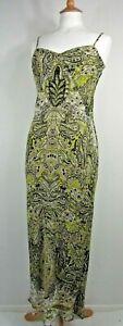Vince Silk Chiffon Green Paisley Maxi Slip Dress Size XS / UK 8
