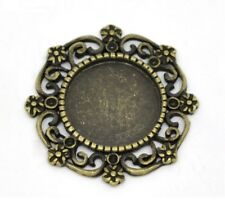 "Pkg of 5 ROUND Antique Bronzed CABOCHON SETTINGS 1-1/16"" (27mm) (14805) Findings"