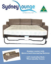 AUSTRALIAN MADE Domino 3 seater Queen 4'' Innerspring Sofa Bed Lounge Couch