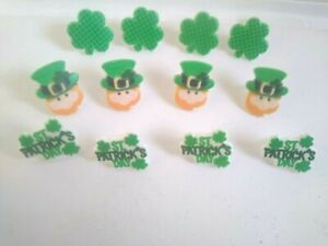 St Patrick's Day Green Clovers Leprechaun Plastic Cake Cupcake Toppers RIngs