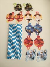 Lego NinjaGo blue straws kids birthday decoration tableware 12 pcs set