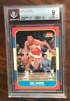 1986 FLEER BASKETBALL #91 DOC RIVERS RC BGS 9 WITH GEM MINT CENTER $ SURFACE **