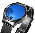 Fashion Stainless Steel VIGOROSO Men's Black Mesh Waterproof Sports Wrist Watch
