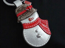 Coach Snowman Key Fob Leather Keychain Key Ring Charm NEW