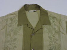 Tommy Bahama Mens Short Sleeve Camp Shirt Green Stiched Pattern Silk/Rayon Small