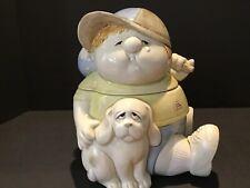 Vintage Fitz & Floyd sweet sad Runaway boy and dog cookie jar pastel vintage