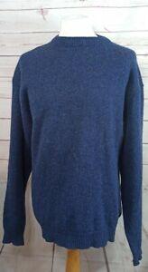Vintage County Menswear 100%  Shetland Wool Jumper Crew Neck XL Blue