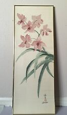 VTG ASIAN PINK LOTUS ARTISTS HIROKS FRAMED OIL & MIXED MEDIA ON SILK PAINTING