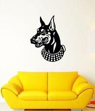 Wall Decal Doberman Dog Animal Pet Collar Grin Teeth Vinyl Stickers (ed101)