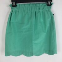 Lauren James Womens Scalloped Solid Seersucker Seafoam Green Skirt Pockets Small