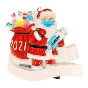 Santa Claus Decoration Resin Painted Face Mask Christmas Hanging Tree G1X0