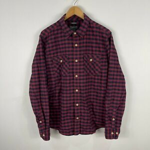 Fat Face Mens Button Up Shirt Medium Red Blue Check Long Sleeve Collared