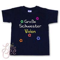 T-Shirt * Große Schwester + Wunschname * Wahl: MOTIV, Größe, Farbe ab 86/92 NEU