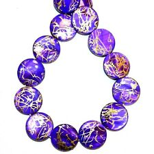 """MP2397 Purple w Gold Drawbench Drizzle 20mm Round Mother of Pearl Shell Bead 15"""""""