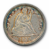 1858 25C Liberty Seated Quarter About Uncirculated to Mint State Toned #7543