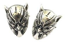 Black Panther Silvertone Mask Cosplay Metal Cufflinks 1 Pair
