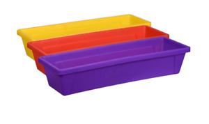 Teaching Tree Storage Tray Plastic 3 Piece Set  ~ Purple, Yellow, Red