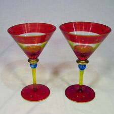 """Set of 2 Pier 1 Martini Cosmo Glasses 8"""" Tall Festive Red Yellow Stripes Atomic"""