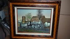 "H.HARGROVE SERIGRAPH OIL ON CANVAS ""TOMS RIVER TRAIN STATION"" EXTREMELY RARE"