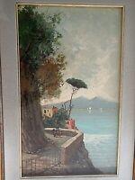 Vintage Italian Oil Painting Coastal Naples Sorento Vesuvius Neapolitan 1920?