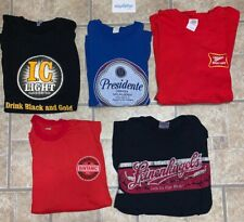 Vtg Lot (5) Beer T Shirts Miller High Life, Presidente, IC LIGHT, Bintang