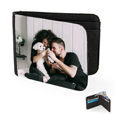 PERSONALISED YOUR OWN PHOTO & TEXT BLACK MENS WALLET XMAS GIFT