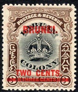 Brunei 1906 black/sepia 2c on 3c mint SG12