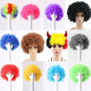 80s CURLY AFRO WIG MULTI COLOUR PARTY CLOWN FUNKY DISCO KIDS CHILDS UK.. K hot.