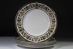 Royal Worcester Windsor Pattern 6 Green Gilded 10.5 inch Dinner Plates
