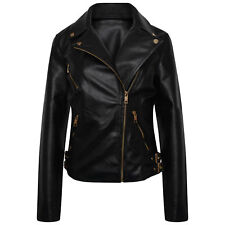 New Ladies Women's Leather Look PU Jacket With Gold Style Trims Sizes 6-24