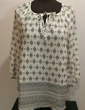 Fred David Women Top White and Gray 3/4 Blouse Lightweight Loose Fit Size S
