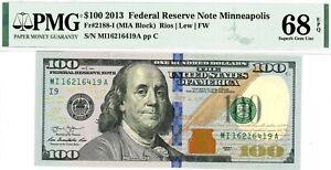 $100 2013 Federal Reserve Note Minneapolis  Fr#2188-I (MIA Block)  PMG 68 EPQ