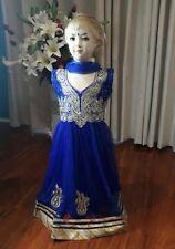 """28"""" Age 6 7 Salwar Kameez Bollywood Indian Girls Dress Blue Gold Anarkali K10"""