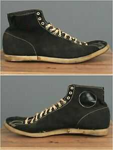 Vtg Men's 1940s Black Canvas Leather Toe High Top Sneakers sz 10 40s Shoes