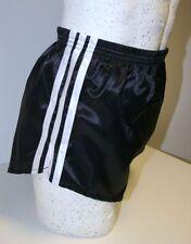 Nylon Glanz Satin FOOTBALL Shorts Small to XXXXL 70s & 80s Retro, Black & White