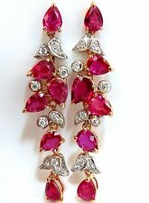 $33000 10.88CT NATURAL RED NO HEAT RUBY DIAMOND DANGLE EARRINGS 18KT UNHEATED