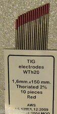 10 Electrodos TUNGSTENO Soldar TIG Ø 1,6 x 150 mm ROJOS 2% Th Soldadura