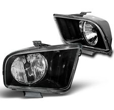 2005-2009 FORD MUSTANG BLACK SET REPLACEMENT CRYSTAL STYLE HEADLIGHTS HEADLAMPS