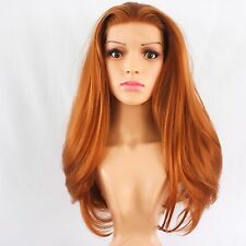 Custom Made Synthetic Lace Front Silky Straight Bright Copper Wig 18""