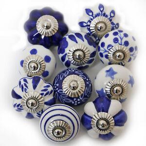 Möbelknöpfe Set 6-8-10 STK  Griffe Blau Weiß Keramik Knöpfe Möbelknopf Knäufe