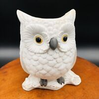 "Vintage Porcelain Bisque Napcoware Napco White Owl Planter 3179 6"""