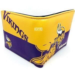 NFL Minnesota Vikings Men's Printed Logo Leather Bi-Fold Wallet