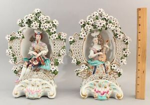 Pair 19thC Antique Paris Porcelain Garniture Figure Sculptures Bagpipes Mandolin