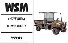 Kubota RTV1140 ( RTV1140CPX ) UTV WSM Service Workshop Manual CD  -   RTV 1140