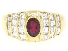 Estate 18k Yellow Gold 1.75ctw D VVS Asscher Diamond & Oval Ruby Wide Band Ring