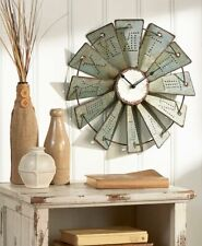 Rustic Metal Embossed Windmill Farmhouse Wall Clock Country Classic Oversized